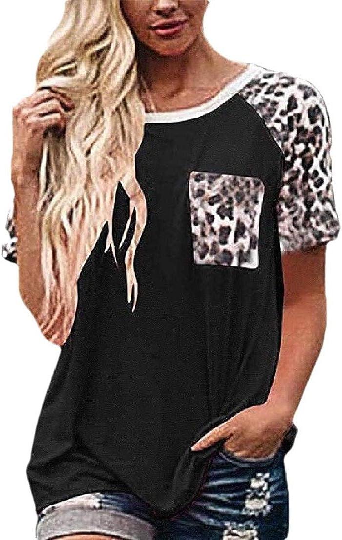 Spirio Womens Leopard Print Short Sleeve Shirts Summer T-Shirt Tops