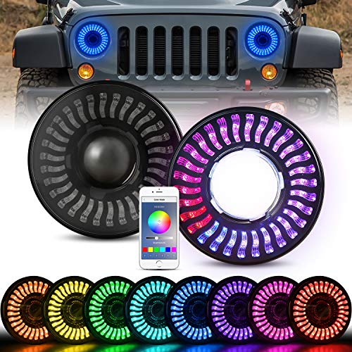 "RGB LED Headlights for Wrangler, AAIWA 3D 7"" Round Halo LED Headlight Flashing RGB Headlamp Bluetooth Controlled Compatible with 1997-2018 Jeep Wrangler JK TJ LJ, 2PCS"