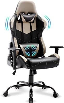 FERGHANA Upgrade Massage Gaming Chair,Ergonomic Office Chair,Computer Chair with Adjustable Recliner,Height and Armrest,with Headrest and Massage Lumbar Support(Nardo Gray)