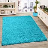 VIMODA Prime Shaggy Teppich Farbe Türkis Hochflor Langflor Teppiche Modern, Maße:160x220 cm