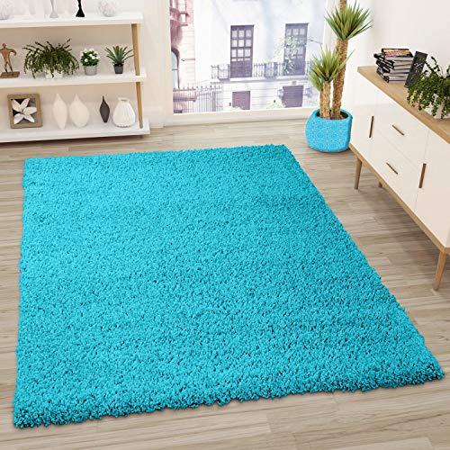VIMODA Prime Shaggy Teppich Farbe Türkis Hochflor Langflor Teppiche Modern, Maße:80x150 cm