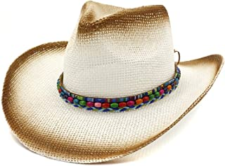 XinLin Du Western Cowboy Hat Spray Paint Straw Hat Women Outdoor Beach Sun Hat Sunscreen Color Beads Braided Visor Hat