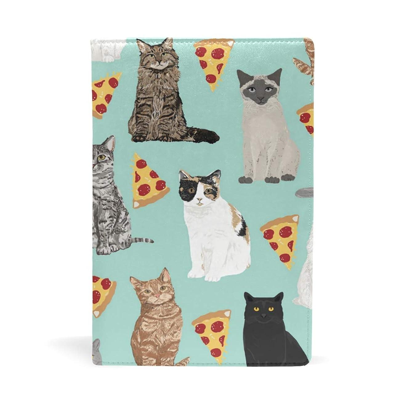 目に見える必要とする安全性猫 ピザ柄 ブックカバー 文庫 a5 皮革 おしゃれ 文庫本カバー 資料 収納入れ オフィス用品 読書 雑貨 プレゼント耐久性に優れ