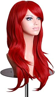 BERON Long Wavy Curly Wig High Standard Silk Female Cosplay Wig with Wig Cap (27'' Wine Red)
