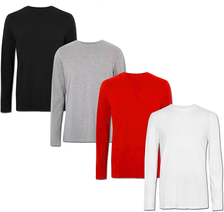 PAUL /& ADAMS /• Lot de 4 t-shirts /à manches longues pour homme col rond uni 100 /% coton coupe droite 160 g//m/² /• 6 couleurs