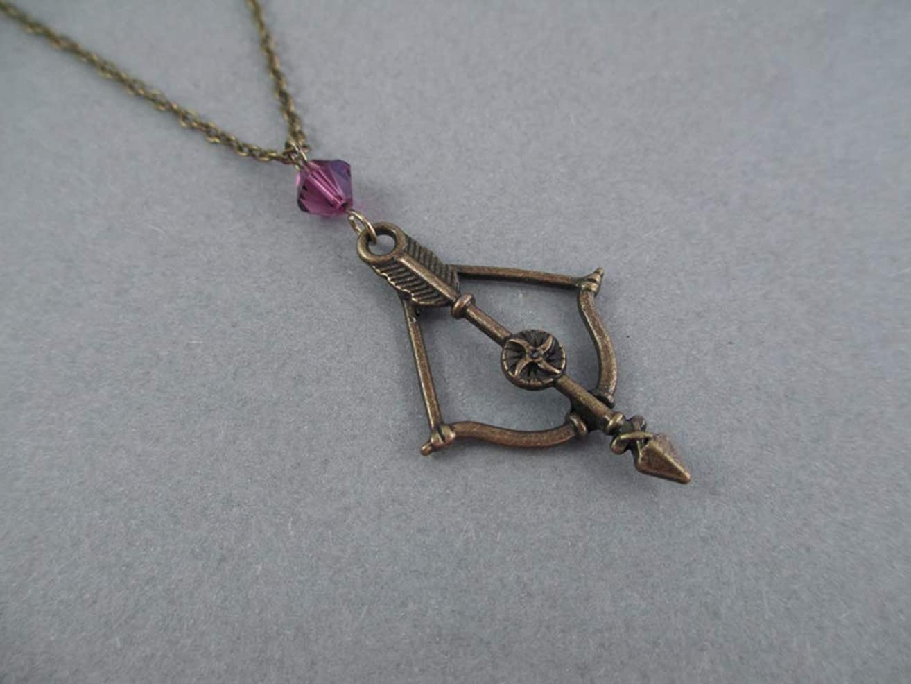Bronze Bow and Arrow Archery Charm Necklace