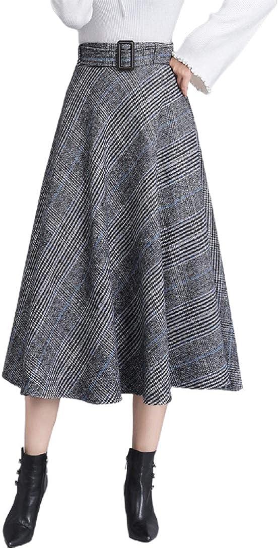 CHARTOU Women's Lovely High Waist Plaid Wool Blend A Line Swing Midi Long Skirt