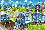 Polizei Polizeiauto Stadt Kinder XXL Wandbild Kunstdruck