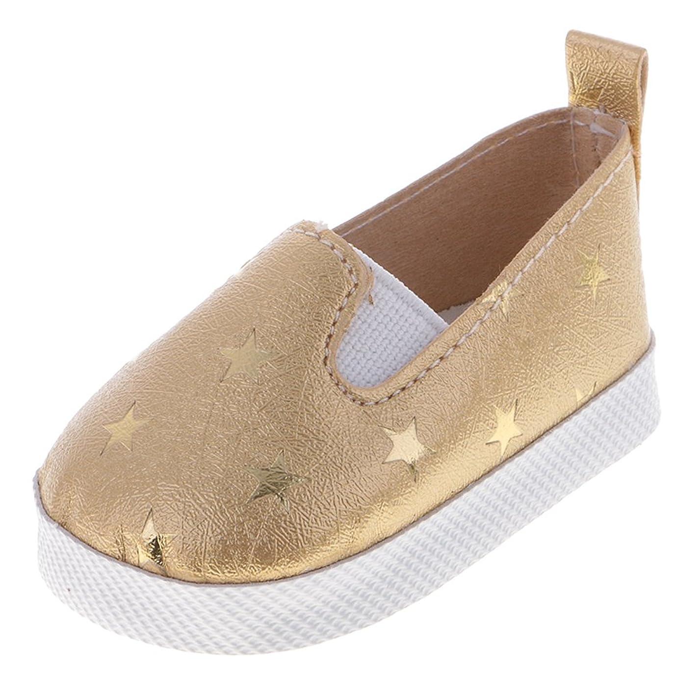 苗結核静けさToygogo 人形 靴 シューズ 星プリント 18インチアメリカンガールドール適用 PUレザー 全3色選ぶ - ゴールド
