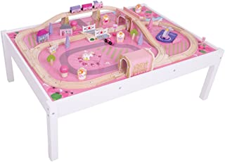 Bigjigs Rail Magical Wooden Train Set and Table - 59 Play Piece - Other Major Rail Brands are Compatible