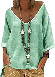 Women's Casual Hooded 3/4 Sleeve Solid Linen T-Shirt Loose Pullover Blouse Top