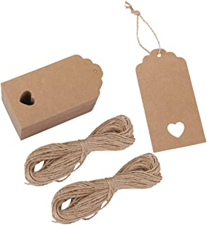 Tojwi 100pcs Hollow Heart Kraft Paper Gift Tags Wedding Party Favours (Brown)