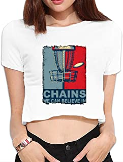 Womens Chains We Can Believe In Funny Disc Golf Dew Navel Shirt