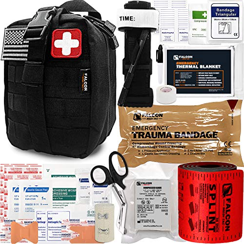 Falcon Medi-Tac Trauma Kit EMT IFAK with Tourniquet Aluminum Rod and Splint for Blow Out and Massive Bleeding Control (Black)