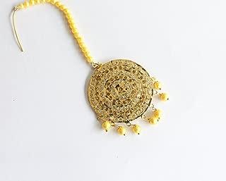 Jadau Round Maang Tikka Online/ Indian Head Tikka/ Headpiece Jewelry/ Mughal Muslim Pakistani Tikka
