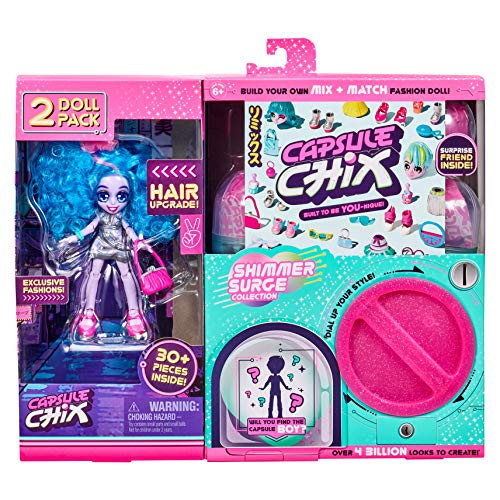 Capsule Chix Shimmer Surge 2 Pack, 4.5 inch Small Doll with Capsule Machine Unboxing and Mix and Match Fashions and Accessories, 59228