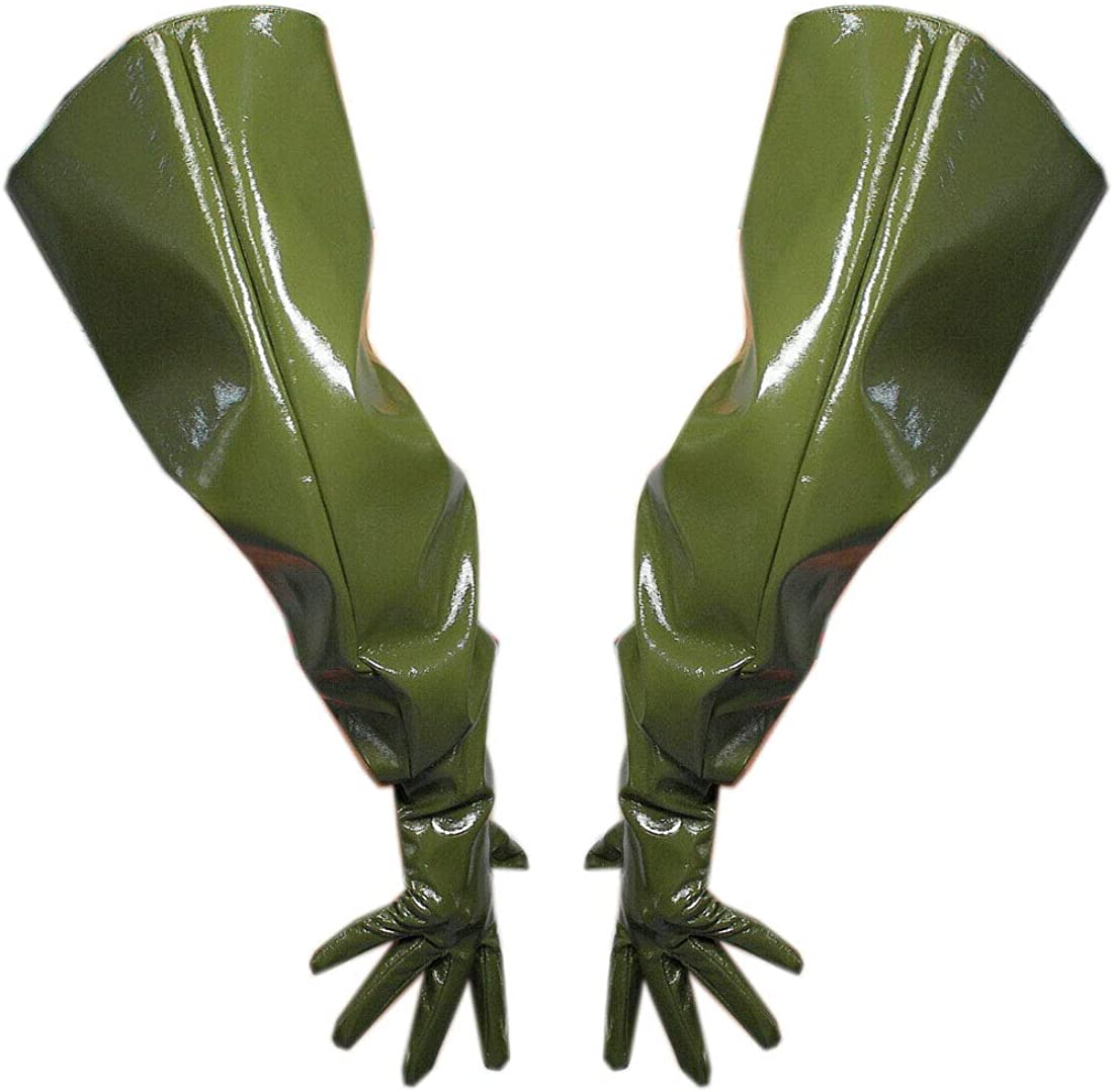 PATENT LONG GLOVES Unisex Faux Leather Balloon Puff Sleeves 70cm Army Green