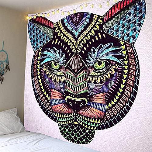 Patrón de cabeza de animal manta tapiz tapiz dormitorio familiar decoración dormitorio decoración tapiz tela colgante A54 180x230cm