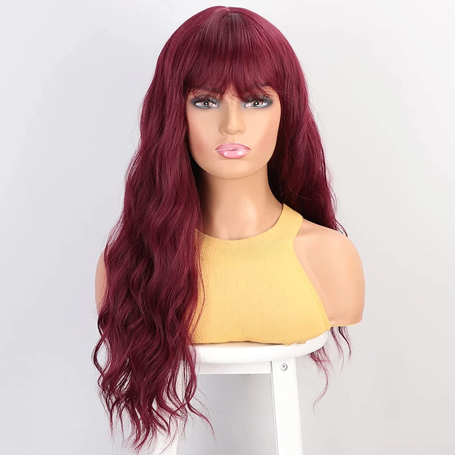 JSQUK Red Spring new work one New York Mall after another Long Wavy Curly Human Hair Breathab Wig Bangs