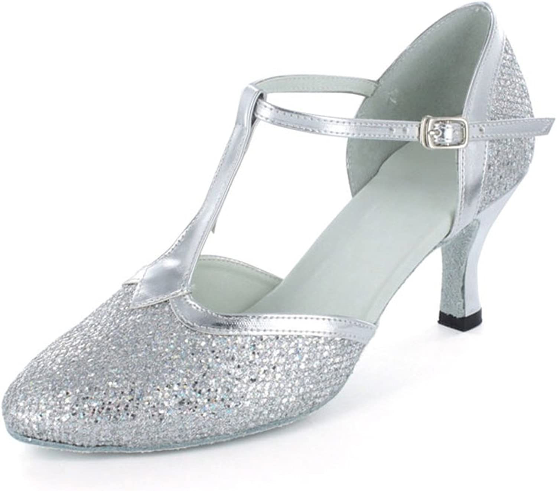 Yiteli Women's Closed Toe Ballroom Dance shoes US4-12 Silver