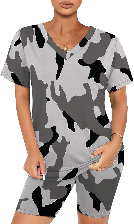iQKA Women 2 Piece Outfit Loungewear Tracksuit Camouflage Print Short Sleeve V Neck Tops Biker Shorts Set
