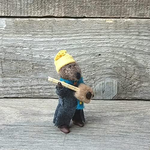 Estatua de Nutria de Resina, decoración de Animales de Resina, Figuras en Miniatura de Resina, moldes de Resina en Miniatura para casa de muñecas, Adornos de Nutria para decoración navideña (Castor)