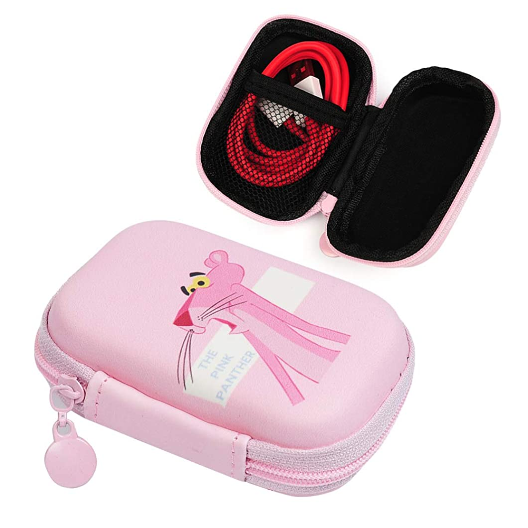 Pink Panther Earphone Cable Storage Bag, Lovely Electronics Organizer Pouch for Earbuds Coin Key - Surprised Pink Panther