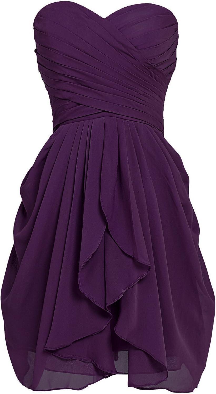 Sarahbridal Women's Short/Long Chiffon Sweetheart Bridesmaid Dresses Prom Gowns Pleats