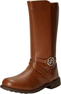 حذاء برقبة للفتيات - أحذية طويلة لركوب لمنتصف الساق (للأطفال الصغار/الأطفال الكبار)، مقاس 1، بني داكن