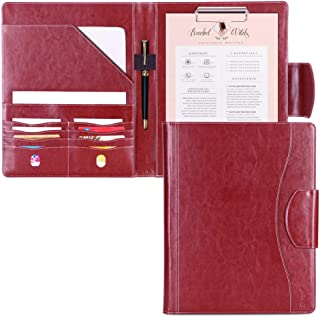 Portfolio Padfolio Case, Skycase Business Portfolio Folder, Resume/Conference/Legal Document Organizer with Letter/A4 Size Clipboard, Business Card Holders, Document Sleeve, Wine Red