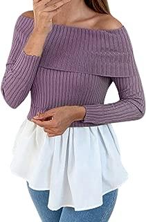 Women's Fashion Top Elegant Off Shoulder Peplum Irregular Ruffle Hem Long Sleeve Casual Solid Blouses Shirts