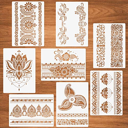 Stencil per bordi di fiori, 8 pezzi Stencil per mandala per dipingere su legno Carta da parati Mandala per pareti Riutilizzabili Stencil per artigianato fai-da-te 21x29,7 cm