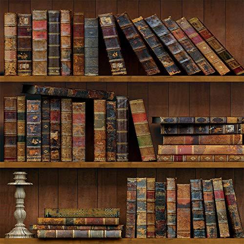 Papel pintado pared autoadhesivoPapel pintado de piedra maciza 3D, papel pintado autoadhesivo, pegatinas impermeables para el dormitorio del comedor de la sala de estar-estante para libros_45cm×10m