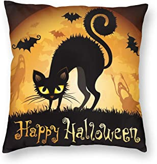 Halloween Moon Bat with Black Cat Pillowcase 18X18 inches Happy Halloween Throw Pillow Covers Festival Home Decoration Pil...