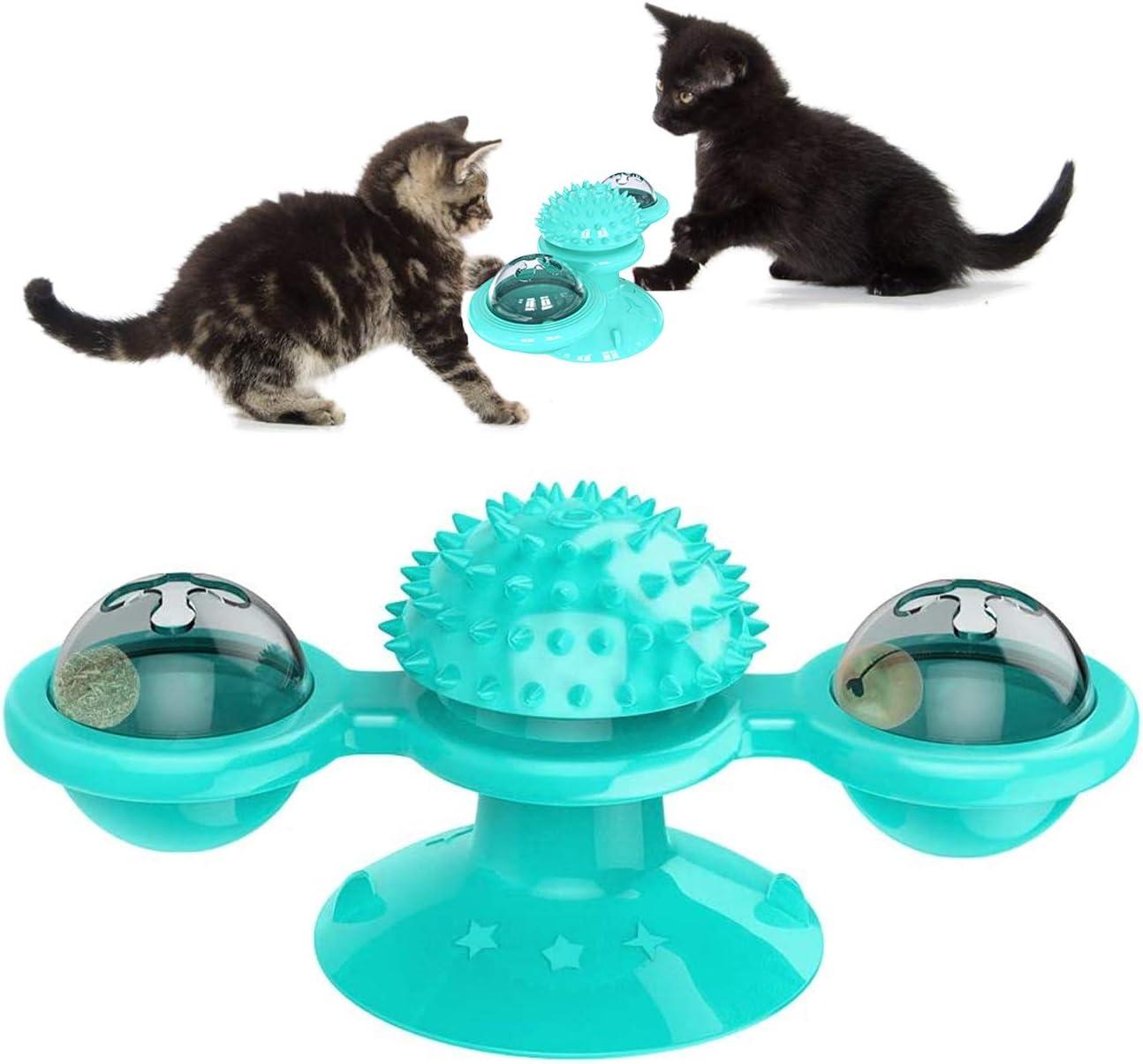 PTN Molino de Viento para Gatos, Juguete Giratorio para Mascotas con Bola Brillante LED y Hierba Gatera, Juguete Interactivo de Burlas Giratorias para Gatos, Función Molar, Aliviar La Ansiedad