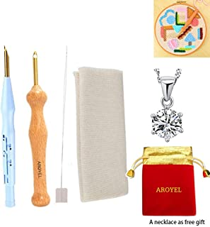 Adjustable Punch Needle Stitching Kit with AROYEL Magic Wooden Handle Embroidery Pen Punch Needle Set, Totes Table Cloths DIY Craft for Embroidery Threaders DIY Sewing-(2 PCS/Set)
