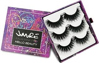 JIMIRE Fake Eyelashes 3D Natural Lashes Pack Reusable False Eyelashes 3 Pairs