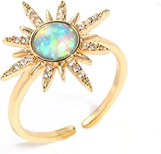 Cz Moon Star Rings for Women - Open Ring AAAA Cubic Zirconia Moon and Star Open Band Ring, Adjustable for US 5-9