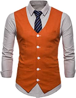 MU2M Men's Suit Vest Casual Slim Fit Solid Color Dress Waistcoat