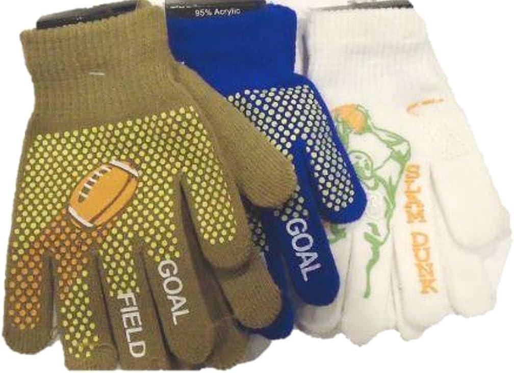 Set of Three Pairs Prints Fleece Very Warm Boys Atheletics Gloves