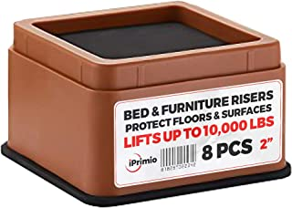 """IPrimio Bed and Furniture Risers – 8 Pack Square Elevator up to 2"""" Per Riser and Lifts up to 10,000 LBs - Protect Floors and Surfaces – Durable ABS Plastic and Anti Slip Foam Grip – Stackable – Brown"""