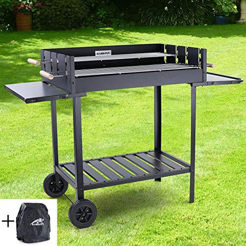 RAMROXX 38336 RAMROXX® BBQ Holzkohle Grillwagen Barbecue Grill RX890 Schwarz XXL 126x52cm