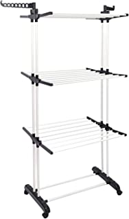 QOZY 3 Tier Clothes Drying Rack,Collapsible Foldable Laundry Dryer Hanger,Heavy Duty Portable Shelf Stand Airer,Rustproof ...
