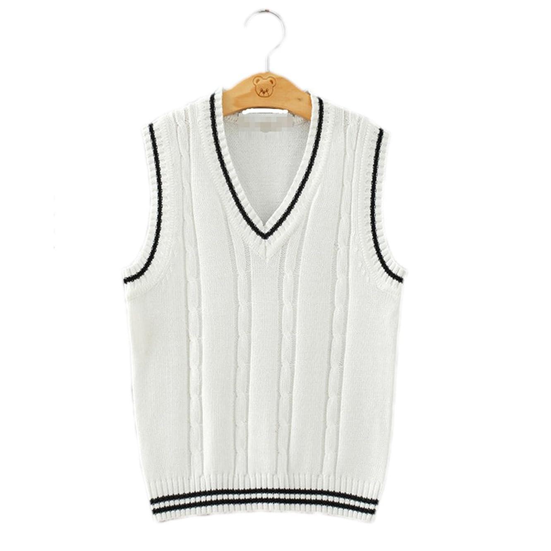 Men Women Knitted Cotton V-Neck Vest JK Uniform Pullover Sleeveless Sweater School Cardigan