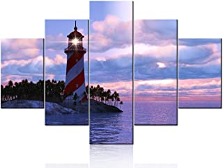 Artwork for Walls Red Dramatic Sunrise with Lighthouse Pictures Seaview Paintings 5 Panel Printed on Canvas Wall Art Moder...