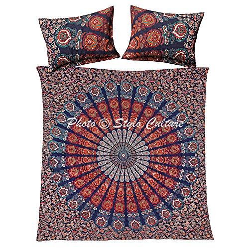 Stylo Culture Double Housse de Couette en Coton Mandala avec taies d'oreiller Standard Paon Plume Ethnique Floral Bleu foncé Couette Indienne Housse Doona Couverture