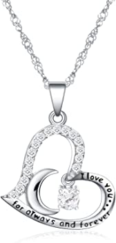 Anna Crystal Jewelry I Love You Dancing Birthstone Heart Moon Necklace