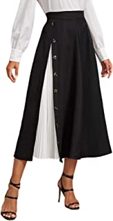 SheIn Women's Button Deco Colorblock High Waist A Line Pleated Skirts