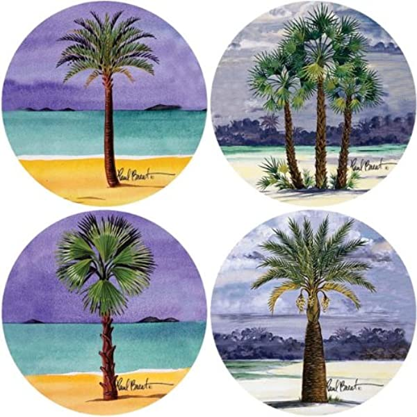 CoasterStone AS540 Absorbent Coasters 4 1 4 Inch Palm Tree Collection Set Of 4