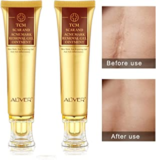 2 pack Aliver TCM Scar and Acne Mark Removal Gel Cream Ointment, Anti-inflammatory and Rapairing,Acne Scar Removal Cream Skin Repair Acne Spots Treatment Blackhead Whitening Cream Stretch Marks